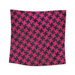 Houndstooth2 Black Marble & Pink Leather Square Tapestry (small) by trendistuff