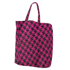 Houndstooth2 Black Marble & Pink Leather Giant Grocery Zipper Tote by trendistuff