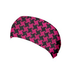 Houndstooth2 Black Marble & Pink Leather Yoga Headband