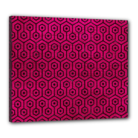 Hexagon1 Black Marble & Pink Leather Canvas 24  X 20  by trendistuff