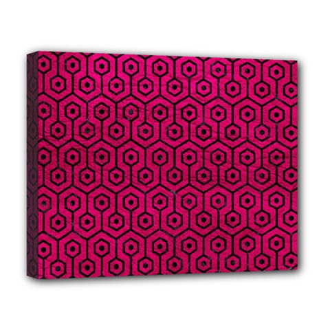 Hexagon1 Black Marble & Pink Leather Deluxe Canvas 20  X 16   by trendistuff