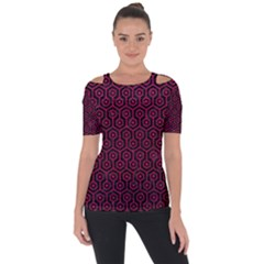 Hexagon1 Black Marble & Pink Leather (r) Short Sleeve Top by trendistuff