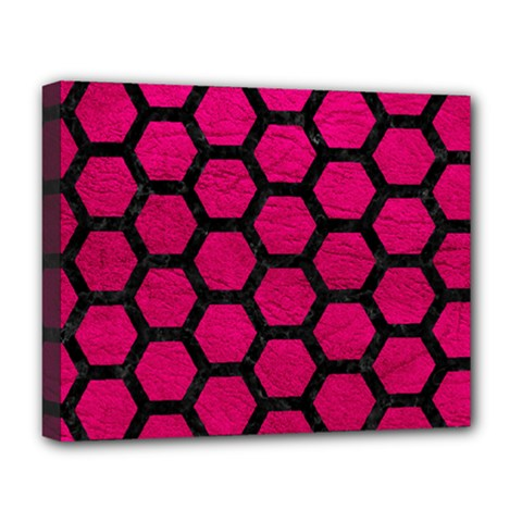 Hexagon2 Black Marble & Pink Leather Deluxe Canvas 20  X 16   by trendistuff
