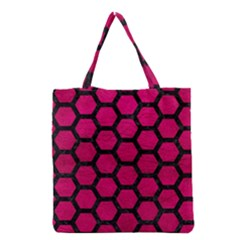 Hexagon2 Black Marble & Pink Leather Grocery Tote Bag by trendistuff