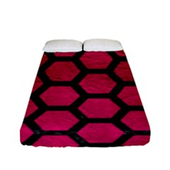 Hexagon2 Black Marble & Pink Leather Fitted Sheet (full/ Double Size) by trendistuff