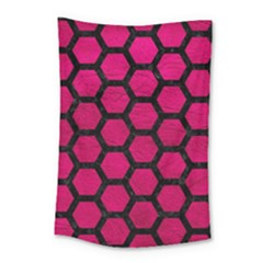 Hexagon2 Black Marble & Pink Leather Small Tapestry by trendistuff