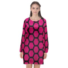 Hexagon2 Black Marble & Pink Leather Long Sleeve Chiffon Shift Dress  by trendistuff