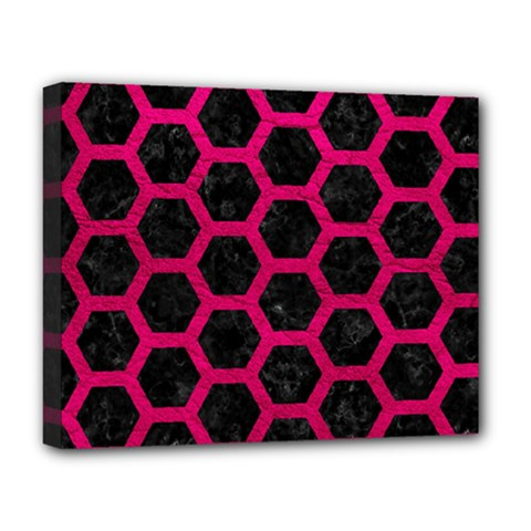 Hexagon2 Black Marble & Pink Leather (r) Deluxe Canvas 20  X 16   by trendistuff