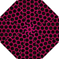 Hexagon2 Black Marble & Pink Leather (r) Hook Handle Umbrellas (small) by trendistuff