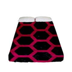 Hexagon2 Black Marble & Pink Leather (r) Fitted Sheet (full/ Double Size) by trendistuff