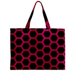 Hexagon2 Black Marble & Pink Leather (r) Zipper Mini Tote Bag by trendistuff