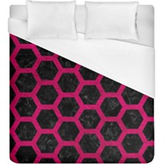 Hexagon2 Black Marble & Pink Leather (r) Duvet Cover (king Size) by trendistuff