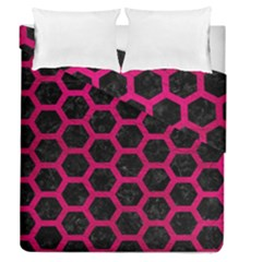 Hexagon2 Black Marble & Pink Leather (r) Duvet Cover Double Side (queen Size) by trendistuff