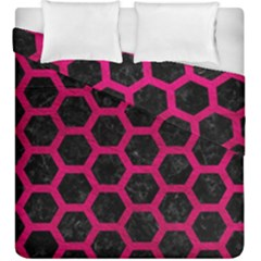 Hexagon2 Black Marble & Pink Leather (r) Duvet Cover Double Side (king Size) by trendistuff