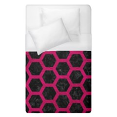 Hexagon2 Black Marble & Pink Leather (r) Duvet Cover (single Size) by trendistuff