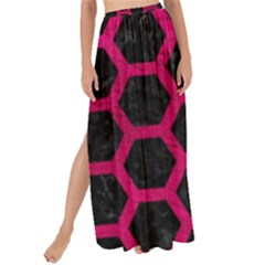 Hexagon2 Black Marble & Pink Leather (r) Maxi Chiffon Tie Up Sarong
