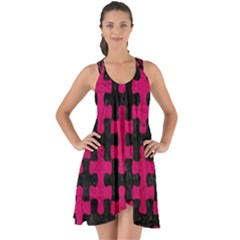 Puzzle1 Black Marble & Pink Leather Show Some Back Chiffon Dress