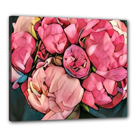 Beautiful Peonies Canvas 24  X 20  by 8fugoso