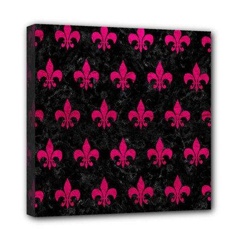 Royal1 Black Marble & Pink Leather Mini Canvas 8  X 8  by trendistuff