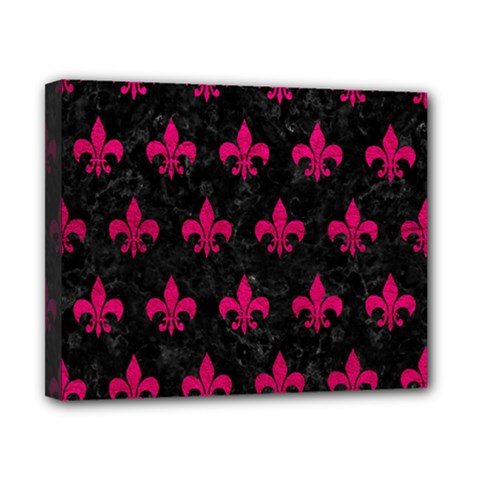 Royal1 Black Marble & Pink Leather Canvas 10  X 8  by trendistuff