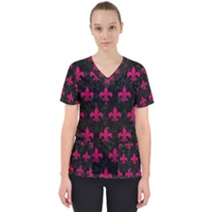Royal1 Black Marble & Pink Leather Scrub Top