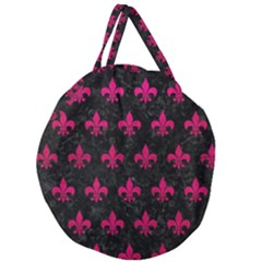 Royal1 Black Marble & Pink Leather Giant Round Zipper Tote by trendistuff