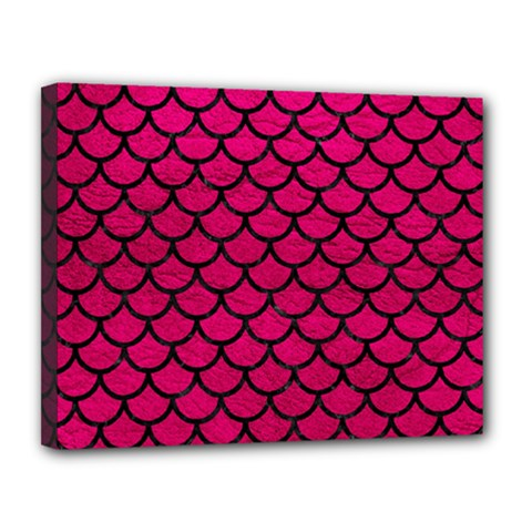 Scales1 Black Marble & Pink Leather Canvas 14  X 11  by trendistuff