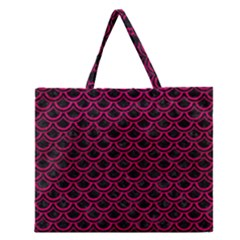 Scales2 Black Marble & Pink Leather (r) Zipper Large Tote Bag by trendistuff