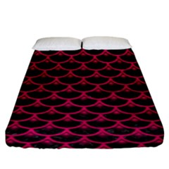 Scales3 Black Marble & Pink Leather (r) Fitted Sheet (king Size) by trendistuff