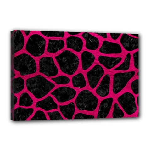 Skin1 Black Marble & Pink Leather Canvas 18  X 12  by trendistuff
