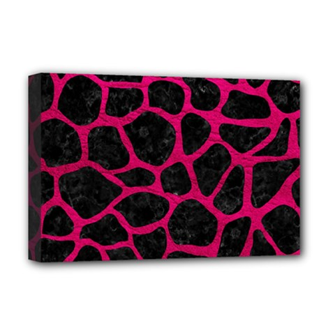 Skin1 Black Marble & Pink Leather Deluxe Canvas 18  X 12   by trendistuff