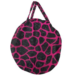 Skin1 Black Marble & Pink Leather Giant Round Zipper Tote by trendistuff