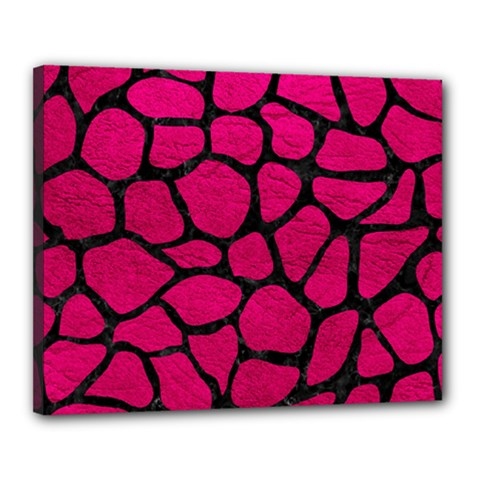 Skin1 Black Marble & Pink Leather (r) Canvas 20  X 16  by trendistuff