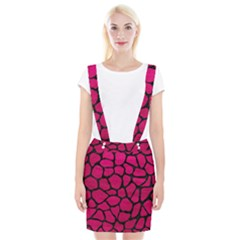 Skin1 Black Marble & Pink Leather (r) Braces Suspender Skirt by trendistuff