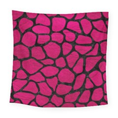 Skin1 Black Marble & Pink Leather (r) Square Tapestry (large) by trendistuff