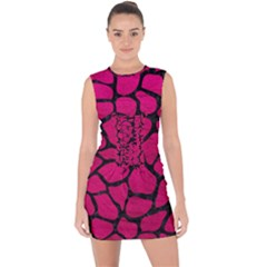 Skin1 Black Marble & Pink Leather (r) Lace Up Front Bodycon Dress by trendistuff