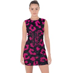 Skin5 Black Marble & Pink Leather Lace Up Front Bodycon Dress by trendistuff