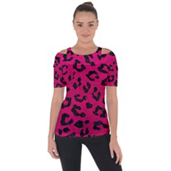 Skin5 Black Marble & Pink Leather (r) Short Sleeve Top by trendistuff