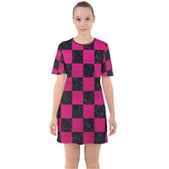 Square1 Black Marble & Pink Leather Sixties Short Sleeve Mini Dress