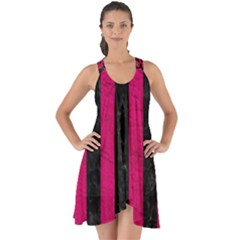 Stripes1 Black Marble & Pink Leather Show Some Back Chiffon Dress