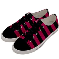 Stripes1 Black Marble & Pink Leather Men s Low Top Canvas Sneakers by trendistuff