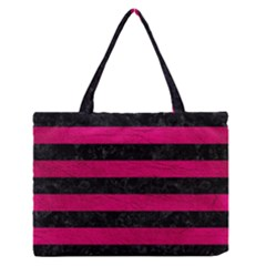 Stripes2 Black Marble & Pink Leather Zipper Medium Tote Bag