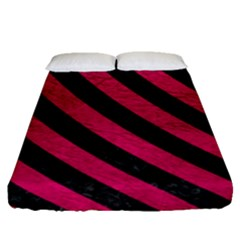 Stripes3 Black Marble & Pink Leather Fitted Sheet (queen Size) by trendistuff