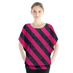 Stripes3 Black Marble & Pink Leather Blouse