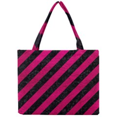 Stripes3 Black Marble & Pink Leather (r) Mini Tote Bag by trendistuff