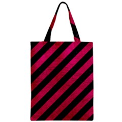 Stripes3 Black Marble & Pink Leather (r) Zipper Classic Tote Bag by trendistuff