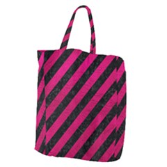 Stripes3 Black Marble & Pink Leather (r) Giant Grocery Zipper Tote by trendistuff
