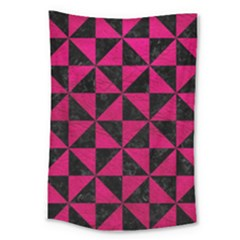 Triangle1 Black Marble & Pink Leather Large Tapestry by trendistuff