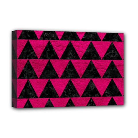 Triangle2 Black Marble & Pink Leather Deluxe Canvas 18  X 12   by trendistuff