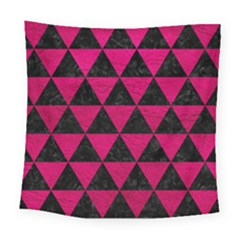 Triangle3 Black Marble & Pink Leather Square Tapestry (large) by trendistuff